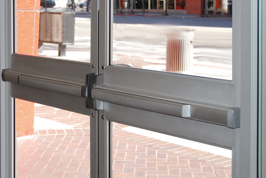 Simons panicbar installed Door closure installation Commercial push bar Install exit panic bars Emergency exit devices Push bar installation service